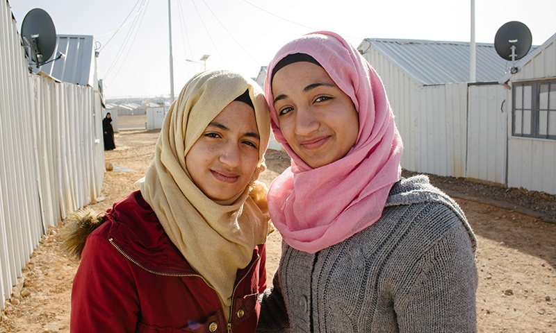 Nour and Ghina are Syrian refugees living in Jordan's Azraq refugee camp