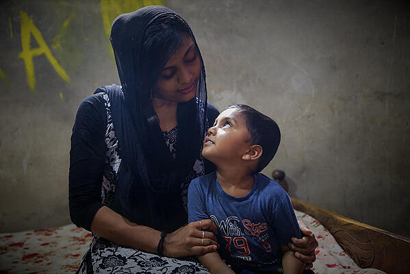Masrafi, 4, spends time with his mother in Bangladesh.