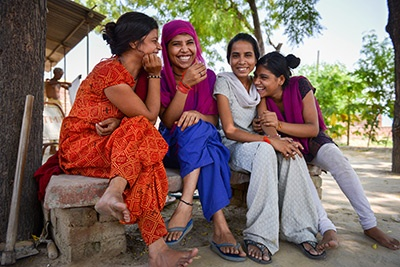 Indian girls smiling
