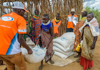 A World Vision food distribution at Naapong Food For Assets site in Turkana, Kenya.
