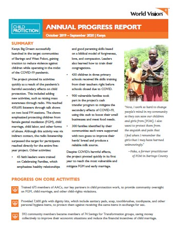 Child Protection Kenya Report FY20 Annual